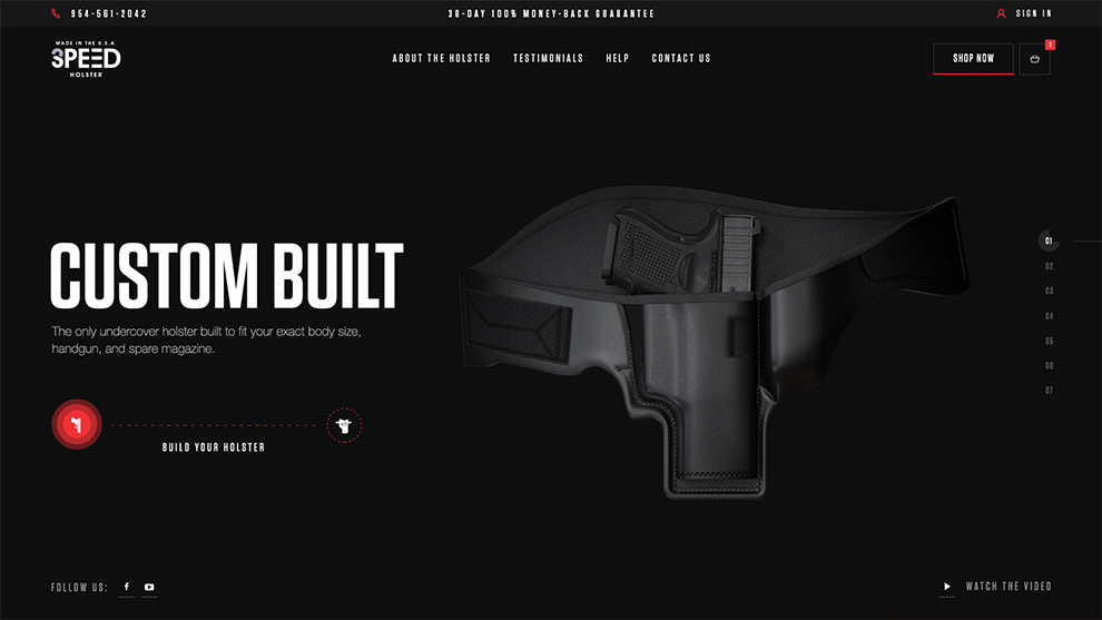 3 Speed Holster - Home Page Design