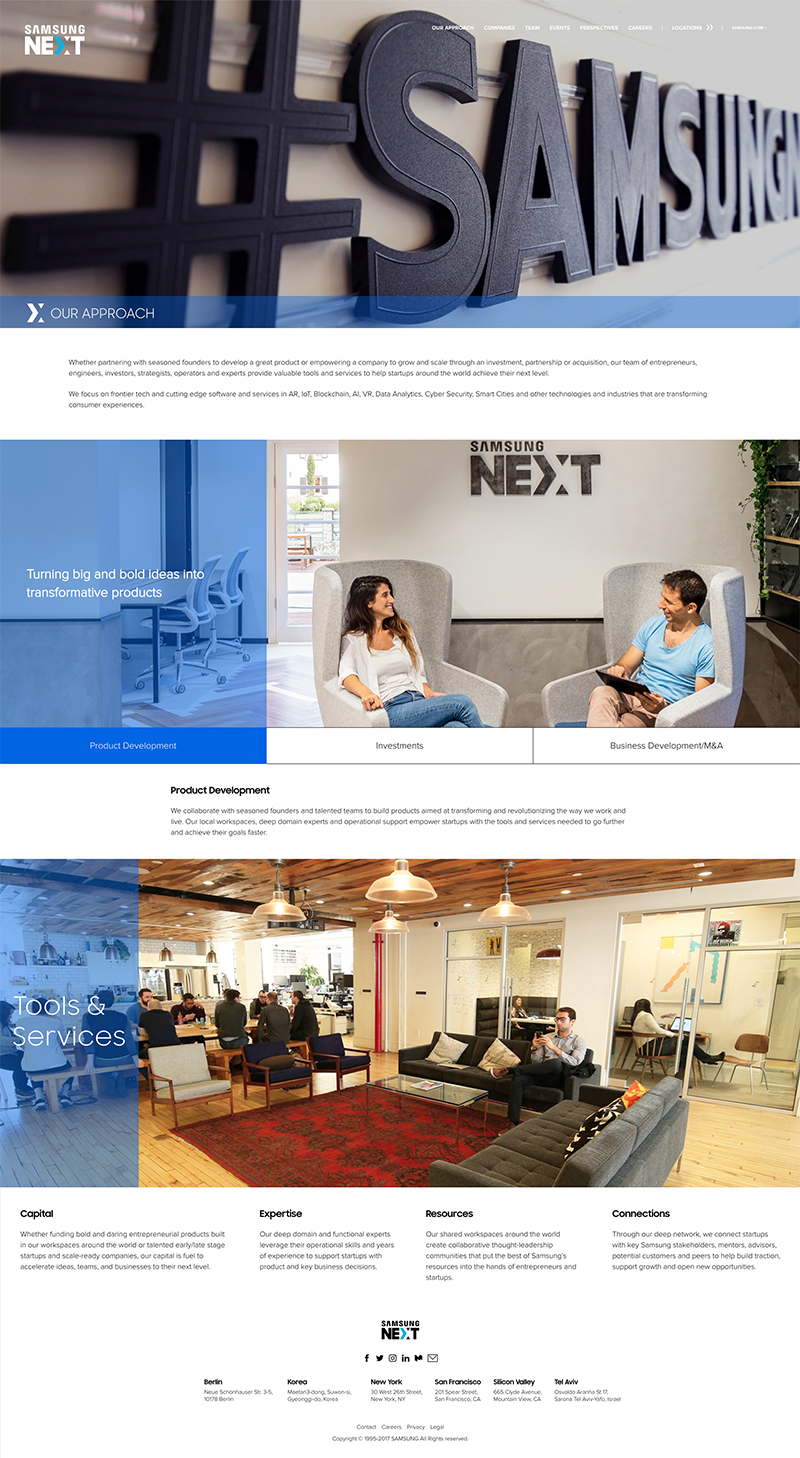 Samsung NEXT site inner page