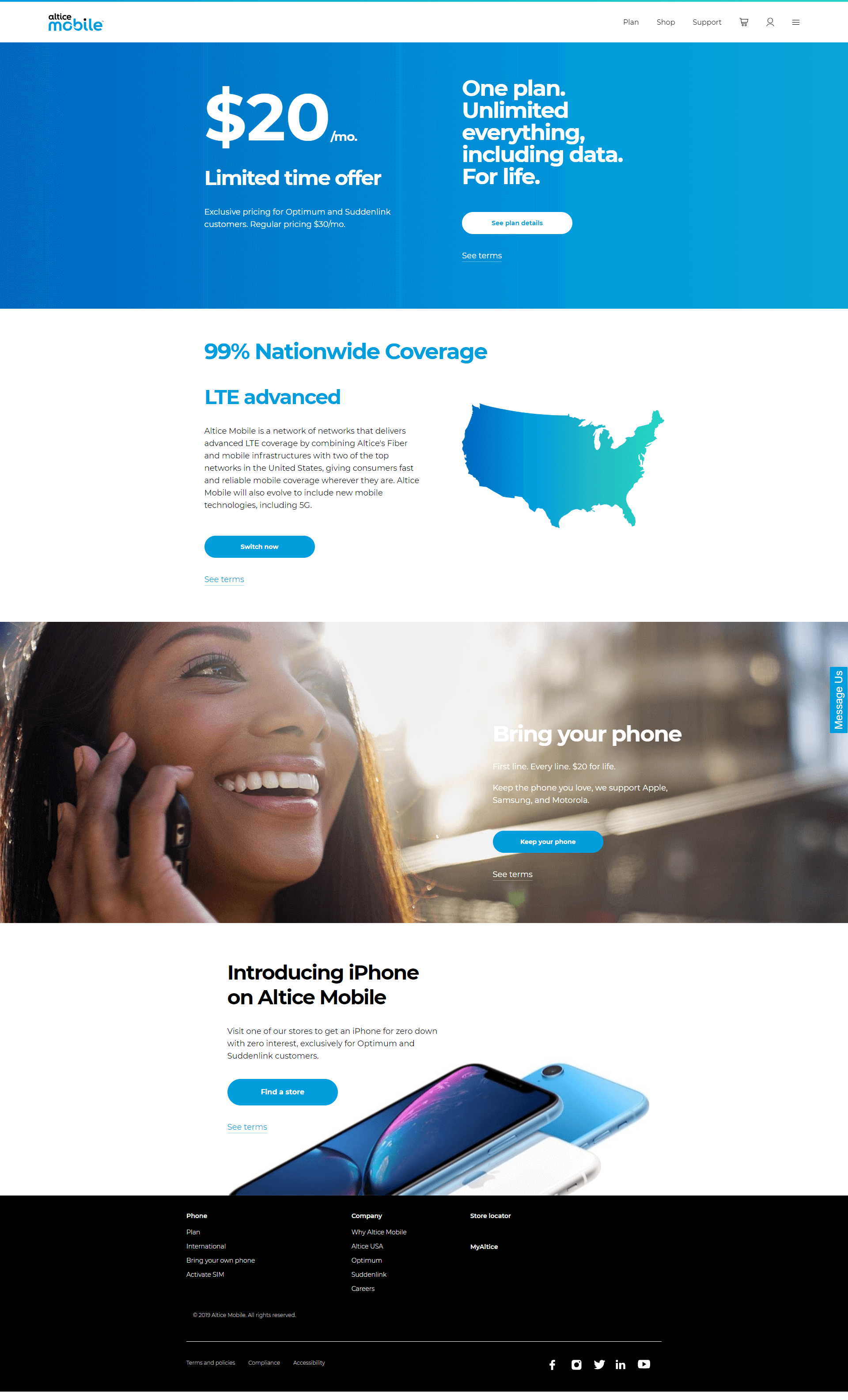 Altice Mobile site home page