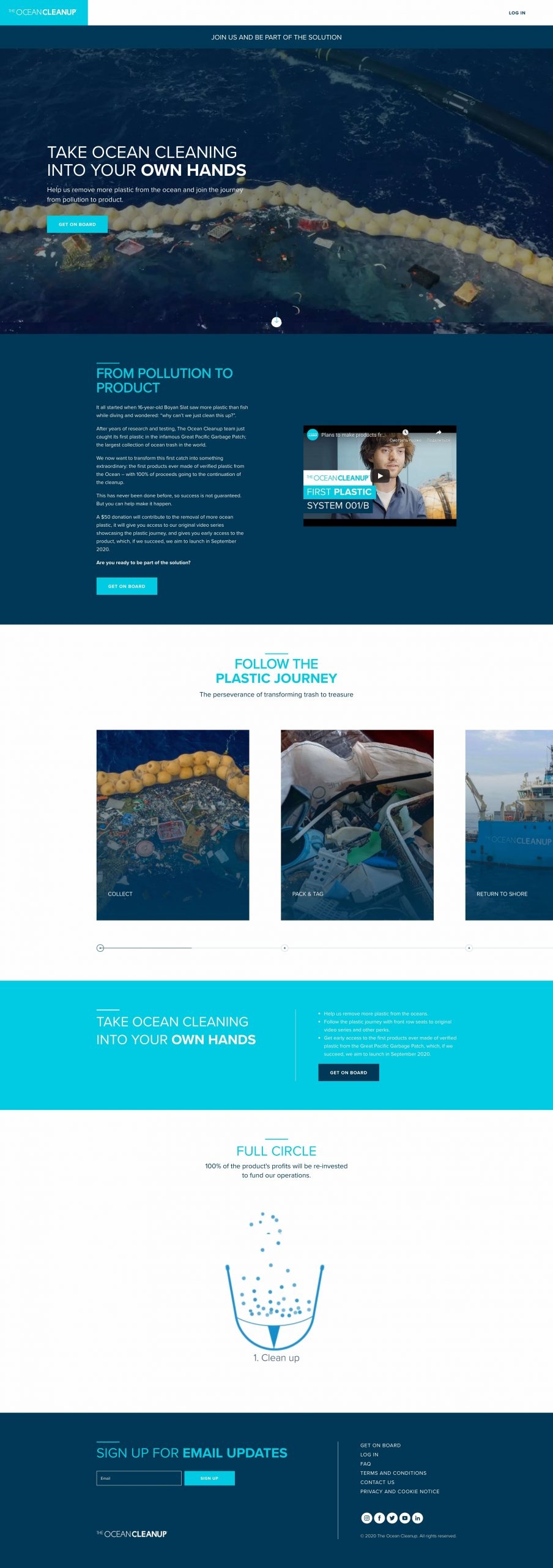 The Ocean Cleanup site home page